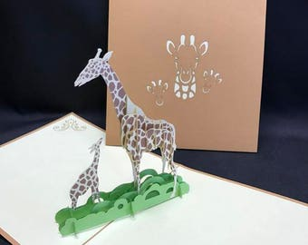 Giraffe 3-d pop up card