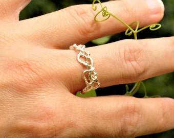 Morning Glories sterling silver ring