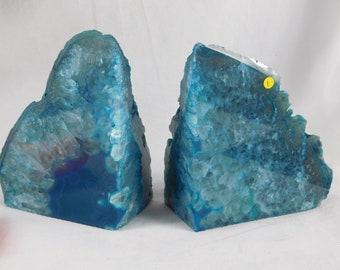 AB1) Large Green Agate Quartz Crystal Bookends House Office Gift 2.27 KG