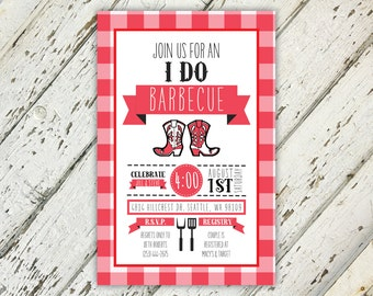 I Do BBQ Red And White Couples Wedding Shower Invitation | 5x7 | Download Printable | Engagement Party, Couples Shower, Summer Wedding Party