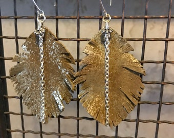 Metallic Feather Leather Earrings