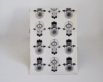 Tea Towel, Multi-Use Towel, Kitchen Bath Gym, Hamsa Print Cotton Screen Printed Towel, Blacktop
