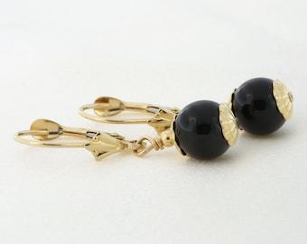 14k Yellow Gold 7mm or 8mm Black Onyx Leverback Dangle Earrings - for women, for girls earrings
