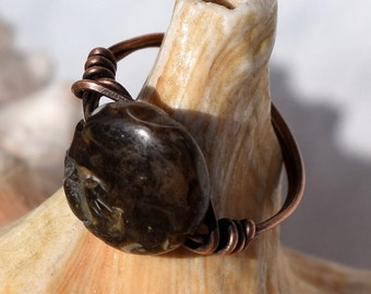 Wire Wrapped Ring, Patina Copper Ring,Turtella Fossilized Gemstone, Customizable, Wire Ring, Jewelry