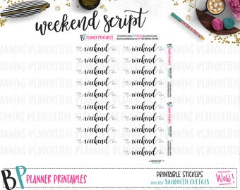Weekend Script Word Labels #2 | Planner Stickers | Printable Stickers | Foil Ready | Cut Lines |  Foil Ready | Weekend Banner