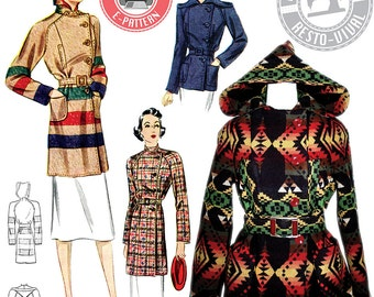 E-Pattern 1930s Ahwahnee Coat- Blanket Coat Pattern- Wearing History PDF Vintage Sewing Pattern