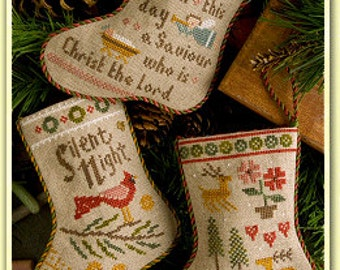 LIZZIE*KATE 2014 Flora McSample's Stockings counted cross stitch patterns INCLUDES embellishments at thecottageneedle.com
