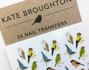 mixed bird nail transfers - illustrated nail art decals stickers - wildlife / nature / nail tattoos