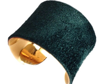 Gold Cuff Bracelet with Dark Peacock Green Suede Leather - by UNEARTHED