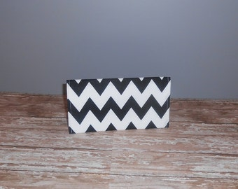 Checkbook Cover - Black Chevron