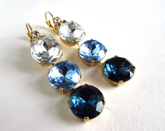 Blue Crystal Earring, Something Blue Wedding Earring, Blue Ombre Earring, Denim Crystal Earring, Blue Dangle Earring, Blue Wedding Earrings