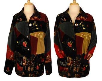 Womens Vintage Jacket, Bohemian Jacket, Patchwork Coat, Floral Coat, Boho Jacket, Hippie, Brocade, Embroidered, Festival, Renaissance, Folk