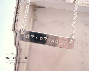 Sterling Silver Bar Necklace . Hand Stamped Jewelry . Personalized Necklace . Sterling Silver Name Necklace . Brag About It