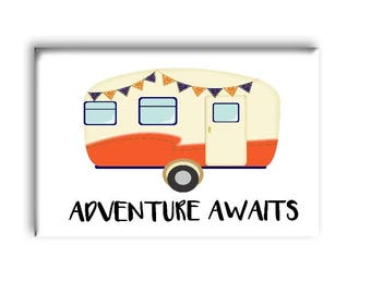 Adventure Awaits Magnet, Vintage Camper Magnet, Fridge Magnet
