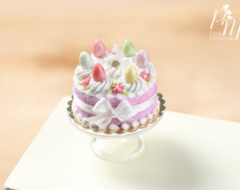 MTO-Easter Cake with Colourful Eggs and Rabbit - Pink - Miniature Food in 12th Scale for Dollhouse
