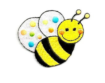Bumblebee - Bumble Bee - Honey - Children - Polka Dots - Embroidered Iron On Applique Patch