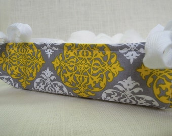Fabric Basket, Organizer, Yellow and Gray, Fabric Tray, Tray for Keys, Jewelry Tray, Bathroom Tray, Gift for Her