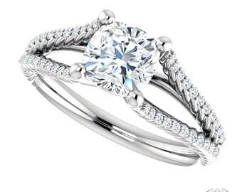 Enchanté Cushion Cut Engagement Ring - 1.32ctw Cushion Cut Moissanite & Diamond Halo Engagement Ring