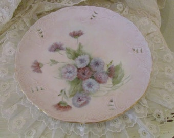 Hand Painted Carnation Plate, Signed Display Plate, Pink Flowers Plate