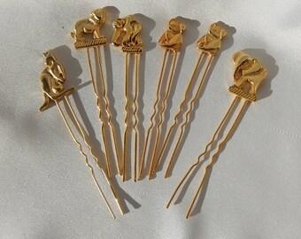 Seis pasadores de pelo de metal decoración de oro de los animales