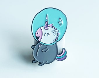 "Cute 1.5"" Space Unicorn Enamel Lapel Pin"