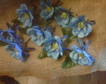 9 x cornflower dusky blue large poppy corsage wedding package