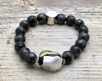 Metallic Murano Glass Larvikite Silver Minimalist Beaded Bracelet  For Her Under 130 Free Gift Wrap One of a kind