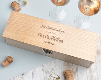 Wedding Thank You Wine Box Personalised Gift (BOTTLE NOT INCLUDED)