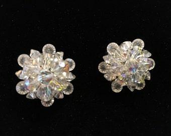 Vintage Clip Earings, Crystal Like Clusters