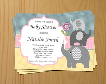 Elephant Baby Shower Invitation Baby Shower invitations Baby Shower Invites - FREE Thank You Card - editable pdf Download (50a1)