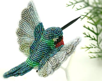 Hummingbird Christmas Ornament Beaded Ruby Throated Clip-on Bird Holiday Decoration Hostess Gift *MADE TO ORDER