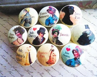 Jane Austen Decorative Knobs..Assorted Novel Characters Cupboard & Furniture Pulls 1 Inch Wooden Decoupaged. Make Your Own Jewelry Hanger.