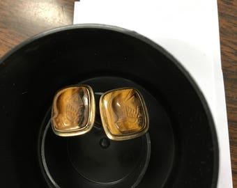 12K Gold Filled Tigers Eye Cuff Links Gentlemen, woman