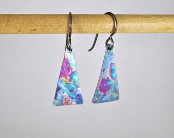 Multi-colored Hammered Pure Titanium Triangle Earrings