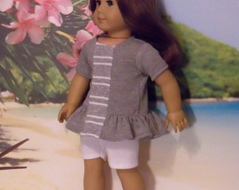 American Made 18 inch  Doll Top with Ruffles, Shorts and Canvas Shoes