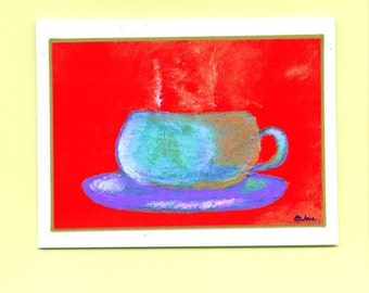 Warm Beverage Number Two Art Note Card Coffee Let's Get Together Thinking Of You