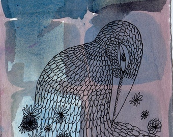 Archival Print of Bird Drawing, Lavender Blue