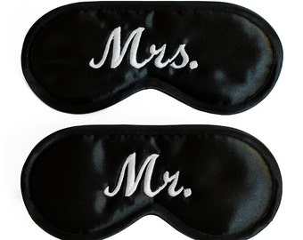 Mrs. Mr. Sleep Masks, wedding night gift, Set of 2 for couple, black sleeping eye mask, white text, wife and husband, her him his hers, silk