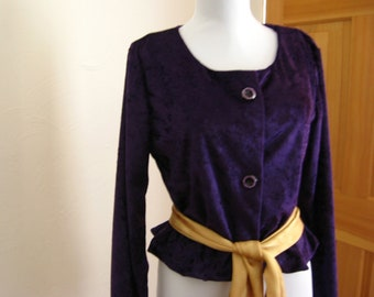 Jacket-Dressy Purple Plush for Her, Holiday Jacket, Purple Jacket for Women, Purple Plush Top for Women