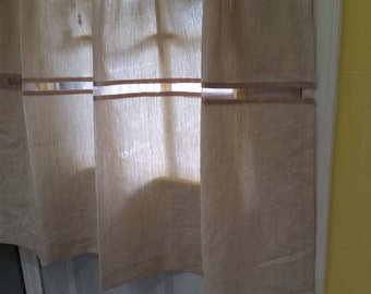 Linen Cafe Curtains, Premium Quality Irish Linen,  Kitchen Curtains, Window Curtains, Cafe Curtains.
