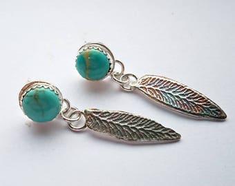 Sterling silver handmade kingman turquoise earrings with oxidised leaf drops, hallmarked in Edinburgh