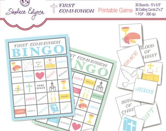 First Communion BINGO Printable Game, Instant Download
