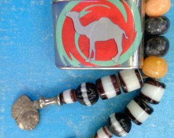 Vintage Camel Lighter Half Cap Cigarette Lighter - with orange blue design embellished with indian heads- Rockabilly- Man Cave- Dads day