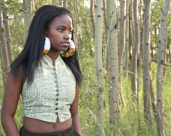 African wax print and wool unique hoops. earrings, crowd stopper. Fulani inspired hoops.