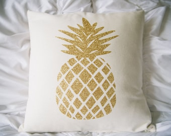 """Gold glitter pineapple pillow cover. Cotton canvas pillow cover with zipper, pineapple decor, pineapple love, 16"""" x 16"""" pillow cover"""