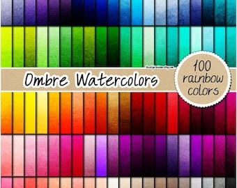 SALE 100 ombre watercolor digital paper painted digital paper ombre digital paper rainbow watercolor print 12x12 pastel neutral bright dark