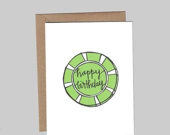 Poker Chip Script Happy Birthday - Birthday - Illustrated Blank Greeting Card