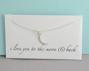 Sterling silver crescent moon necklace / I love you to the moon and back