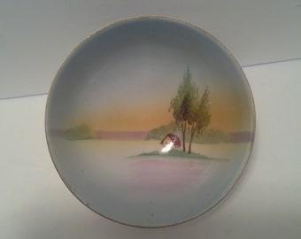Nippon hand painted bowl, raised feet