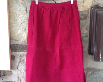 Hot Pink Suede Pencil Skirt Back Zipper with Pockets